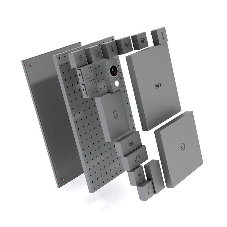 Phonebloks - concept van een modulaire telefoon waarvan verouderde en defecte onderdelen zijn te vervangen. Beeld Phonebloks