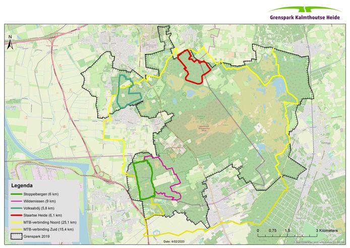In het Grenspark Kalmthoutse Heide liggen zijn verschillende mountainbikeroutes uitgestippeld, een verbindingstraject rond het Vlaams-Nederlandse natuurgebied, plus enkele lussen, in totaal ruim 60 kilometer.