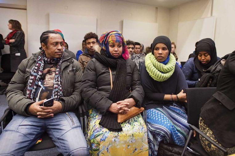 Belangstellenden in de rechtbank waar eind januari een kort geding was over ontruiming van de Vluchtgarage. Beeld anp
