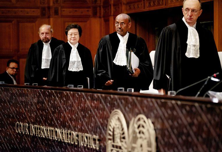 President Abdulqawi Ahmed Yusuf van het Internationaal Gerechtshof doet uitspraak in de door Gambia aangespannen rechtszaak tegen Myanmar. Beeld ANP
