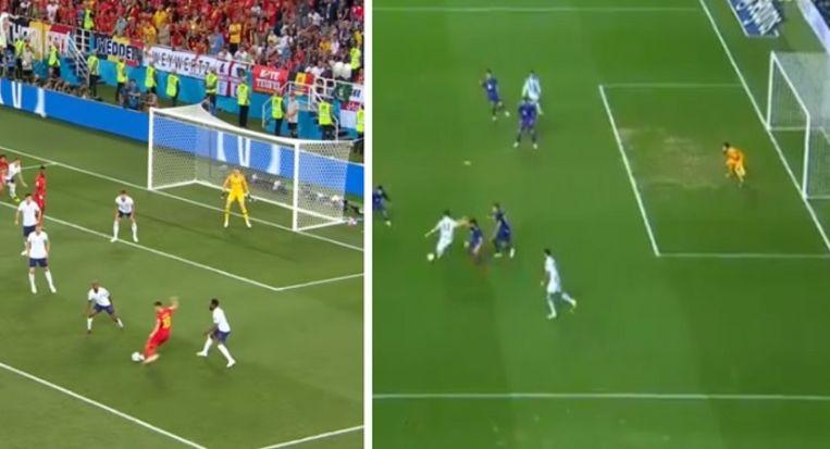Links: Januzaj krulde op het WK tegen Engeland het leer in de verste hoek. Rechts: de Rode Duivel deed tegen Celta de Vigo nagenoeg hetzelfde.