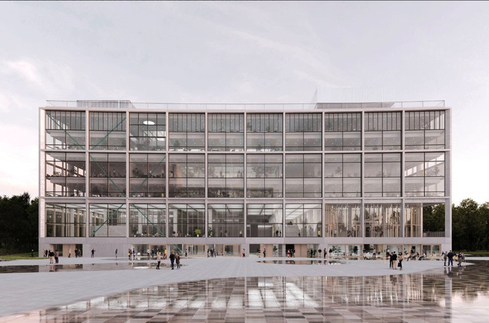 Le futur siège bruxellois de la RTBF s'élèvera sur six étages et comprendra une superficie de plus de 38.000 m² hors sol dédiés à cet équipement public. Le volume principal se présentera sous la forme d'un volume homogène, d'emprise carrée de 85 m et d'une hauteur de 30 m.