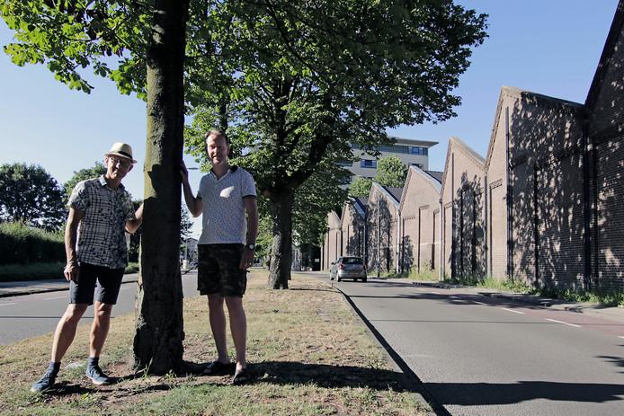 Ton Oomen (links) en Marcel van Gogh (rechts) komen op voor de bomen op de middenberm van de Oostwal.