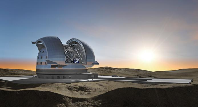 De telescoop heeft de omvang van een voetbalstadion.