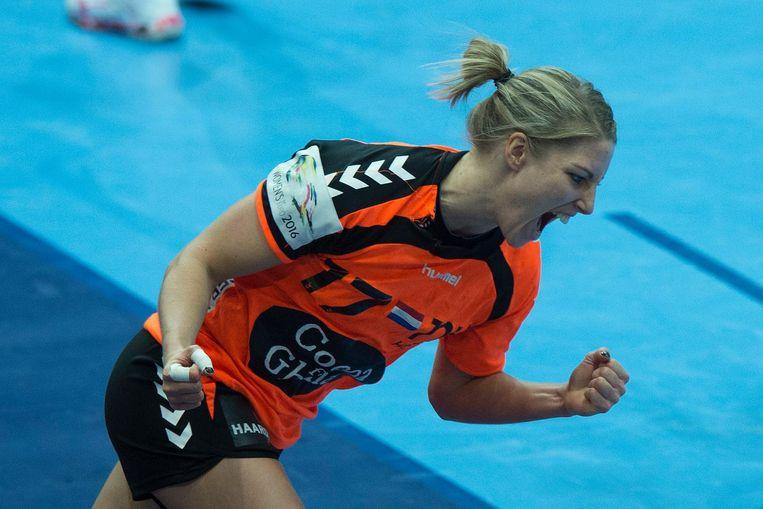 Nycke Cornelia Groot van Oranje tijdens het EK-duel tegen Spanje. Beeld null