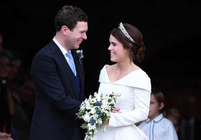 Prinses Eugenie en haar echtgenoot Jack Brooksbank op hun huwelijksdag in 2018.