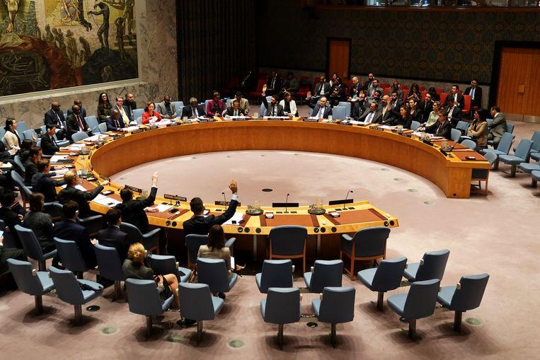 Vergadering van de Veiligheidsraad in New York waar werd gestemd over de veiligheid in Jemen.  Beeld REUTERS