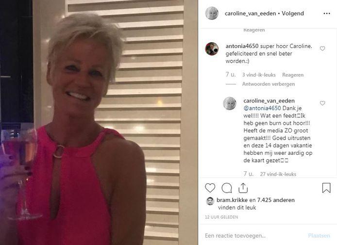 Caroline reageert op beterschapswensen.