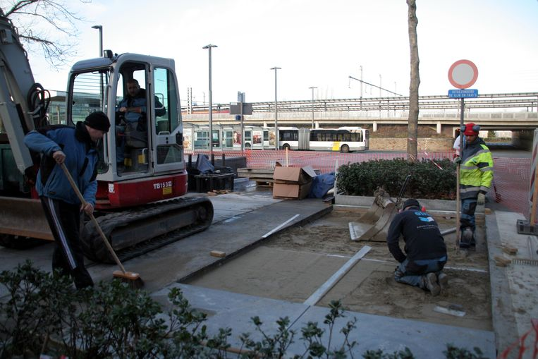 Op het Stationsplein moesten ingrijpende werken worden uitgevoerd om de 36 platanen te redden.