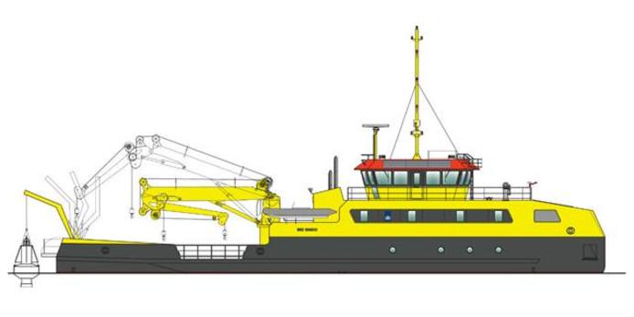 De MPV 30, het schip dat de Rijksrederij voor Rijkswaterstaat laat bouwen.