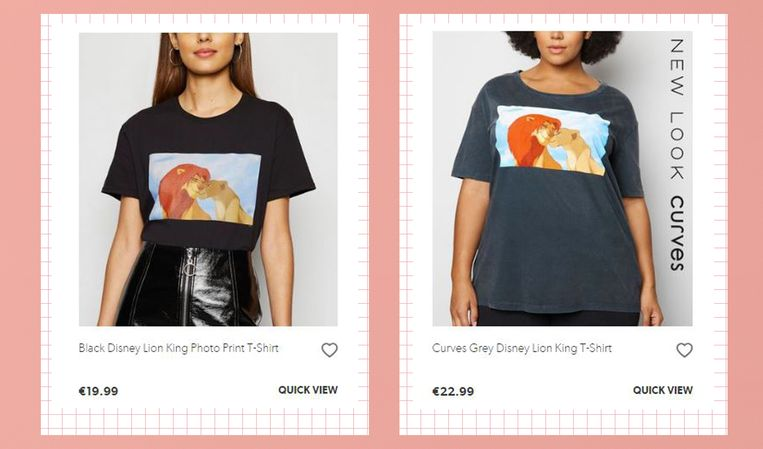 Het prijsverschil voor exact hetzelfde T-shirt in de 'reguliere' en 'plussize' maat.