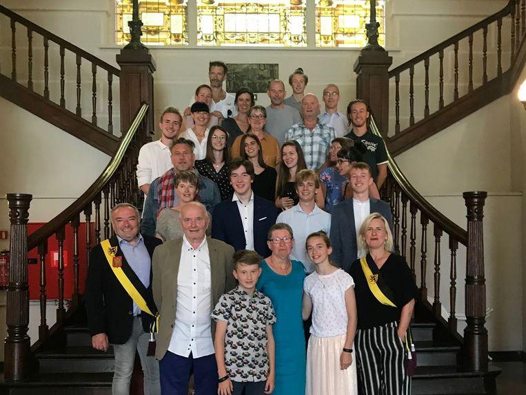 De jubilarissen en hun familie werden officieel ontvangen op het stadhuis.