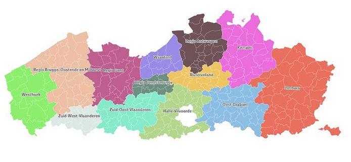 Vlaanderen wordt opgedeeld in 13 regio's, binnen elke regio zijn samenwerkingsverbanden mogelijk, erbuiten moeilijker.
