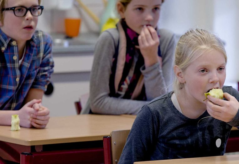 Leerlingen op een basisschool. Zittenblijvers op basis- en middelbare kosten de schatkist ruim 500 miljoen euro per jaar Beeld null