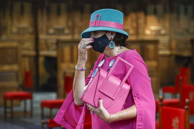 Helma Lodders, Tweede Kamerlid voor de VVD, in de Grote Kerk, waar de Troonrede dit jaar werd gehouden.  Beeld Koen van Weel / EPA