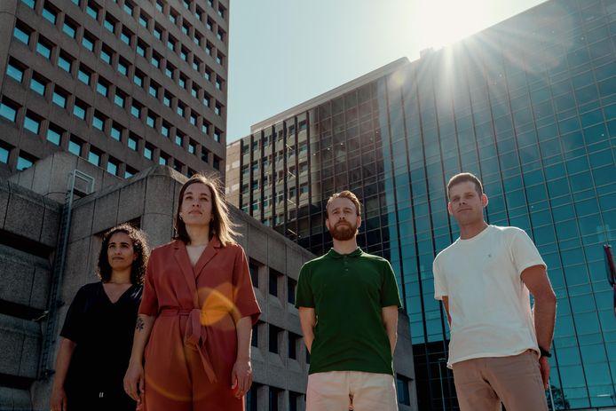 De initiatiefnemers van Stadsdelen, die inmiddels al meer dan 20.000 euro opgehaald hebben.  V.l.n.r.: Matilde Laan, Marijn Hermans, Joris Beek en Thomas van der Wel.