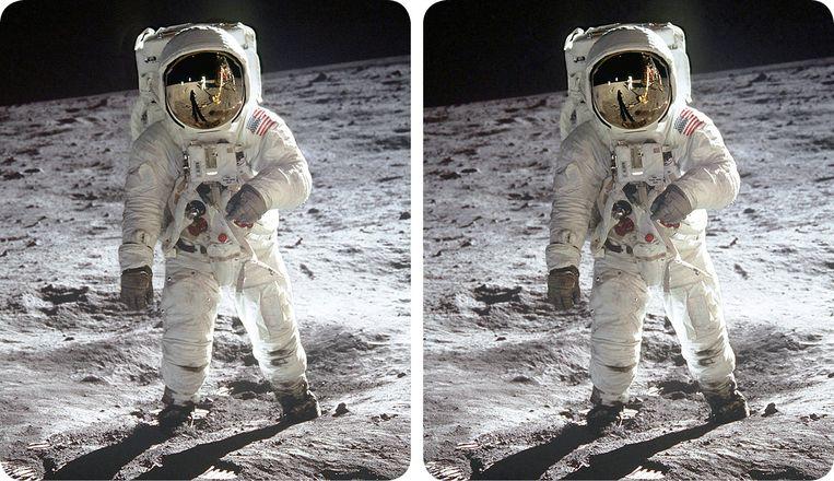 Buzz Aldrin op de maan, 1969. Brian May leverde de stereofoto's voor Race naar de maan 3D. Beeld CREDITS VOLGEN