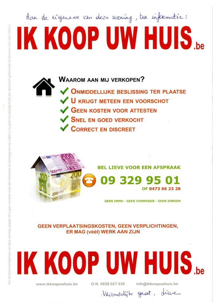 De flyer 'ik koop uw huis.be'.