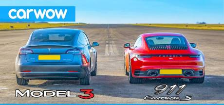 Wie wint de sprint: Tesla Model 3 of Porsche 911 Carrera S?