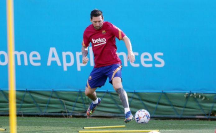 Messi op training bij FC Barcelona