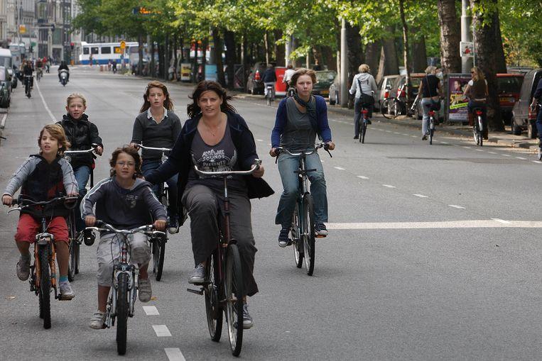 Veel kinderen fietsen niet omdat hun ouders bang zijn. Beeld ANP