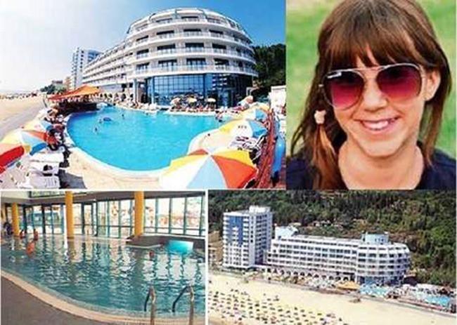 Het Berlin Golden Beach hotel in Slatni Pjassazi in Bulgarije. Rechtsboven de 13-jarige Sarah.