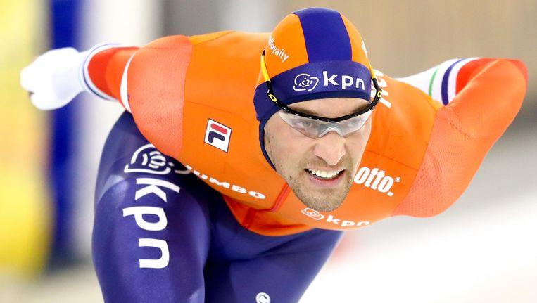Kjeld Nuis reed vandaag de beste tijd op de 1000 meter. Beeld anp
