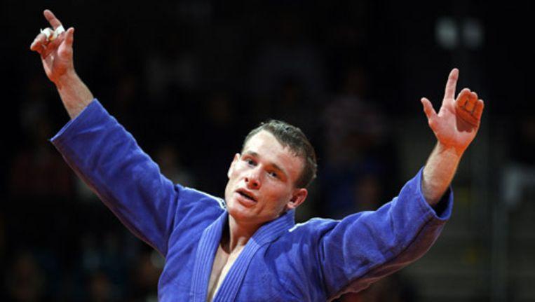 Jeroen Mooren is zaterdag kampioen geworden in de klasse -60 kilo bij het NK Judo in Rotterdam. Foto ANP Beeld