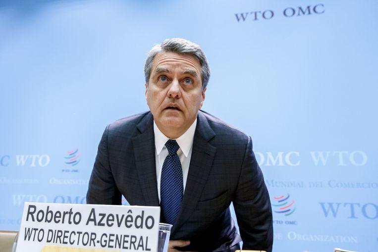 De Braziliaan, Roberto Azevedo, de algemeen directeur van de Wereldhandelsorganisatie.  Beeld EPA