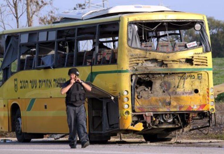 De beschoten schoolbus. EPA Beeld