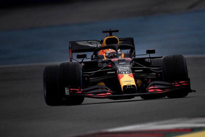 Max Verstappen in actie tijdens de kwalificatie van gisteren.