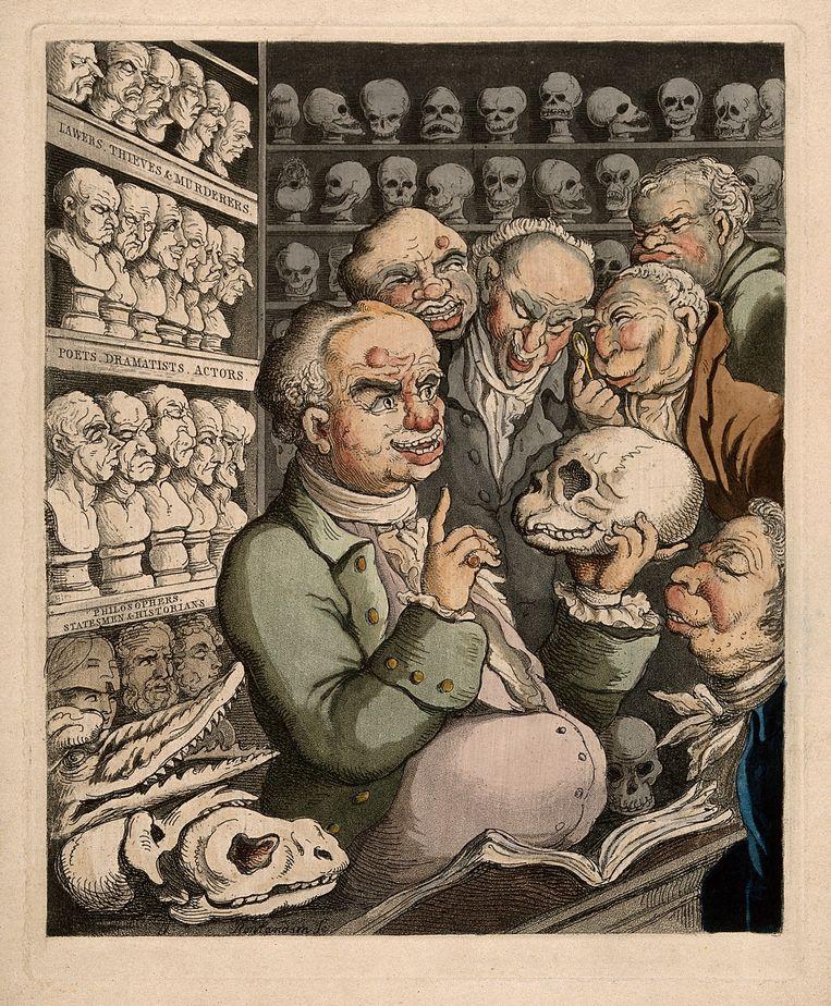 Franz Joseph Gall in discussie met vijf collega's. Beeld Wellcome Library London