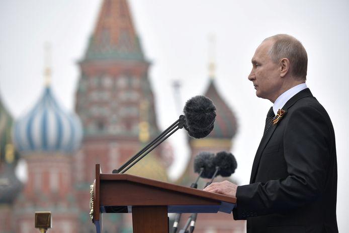 President Poetin tijdens de militaire herdenking van 2019.