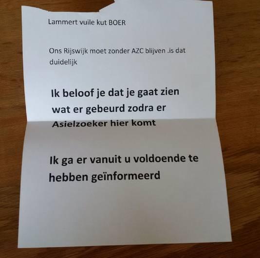 De brief aan Lammert van Dijk.