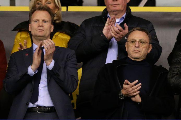 Algemeen directeur Pascal van Wijk van Vitesse met clubeigenaar Valeri Oyf, tijdens het duel met Feyenoord.