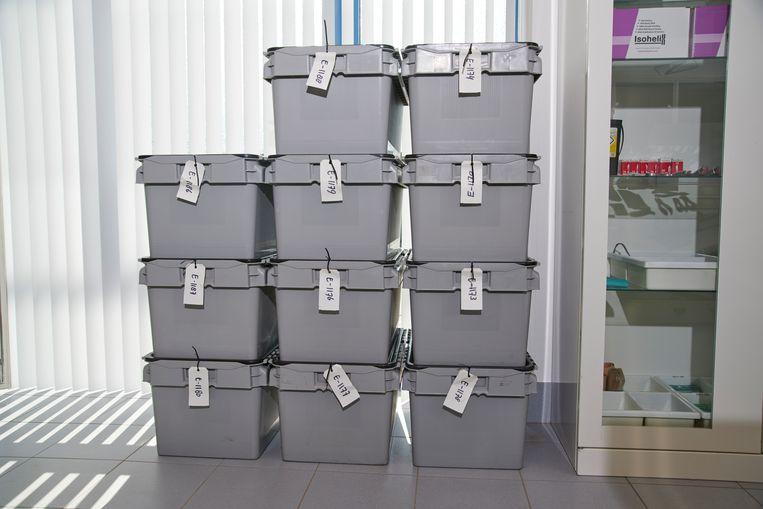 Plastic kisten met stoffelijke overschotten in het kantoor van de BIDKL. Beeld Niels Stomps