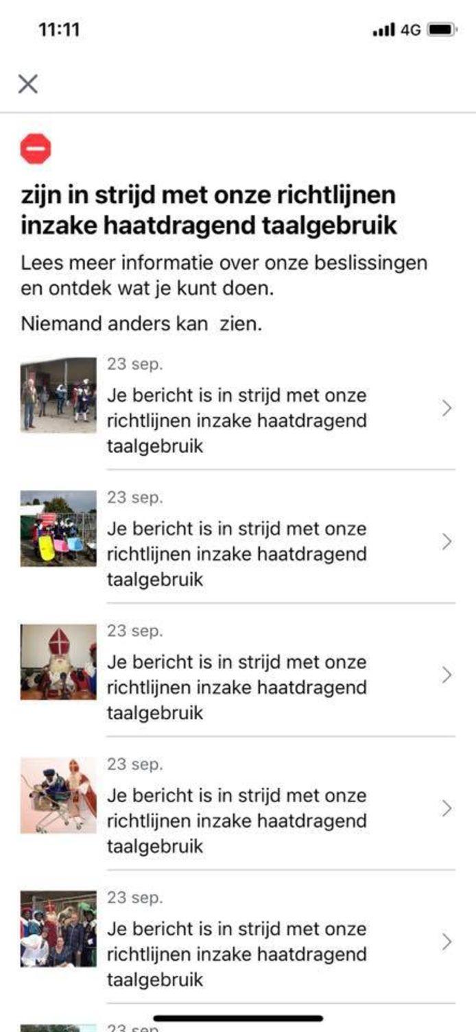 Printscreen van de telefoon van Stephan Kuipers. Facebook heeft zijn posts over het Goorse Sinterklaasjournaal 'ontdekt' en deze allemaal verwijderd.