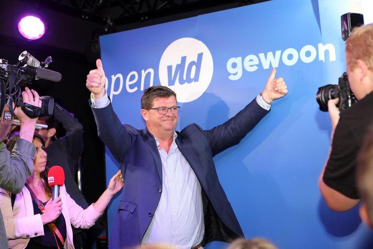 Bart Tommelein van Open VLD na de gemeenteraadsverkiezingen van vorig jaar, die hem de sjerp opleverden.