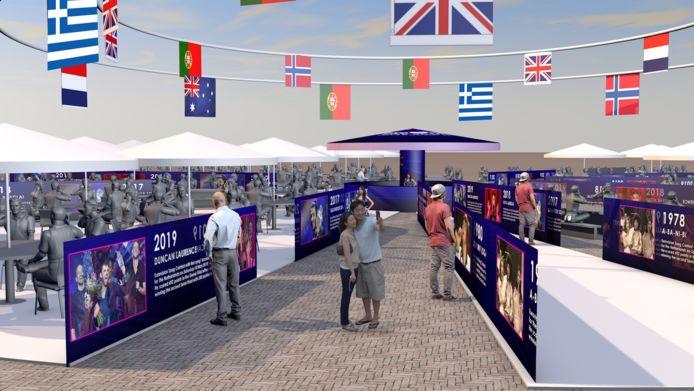 De kraampjes op het terrein van de Eurovision Village, met oog voor ESF-edities uit het verleden.
