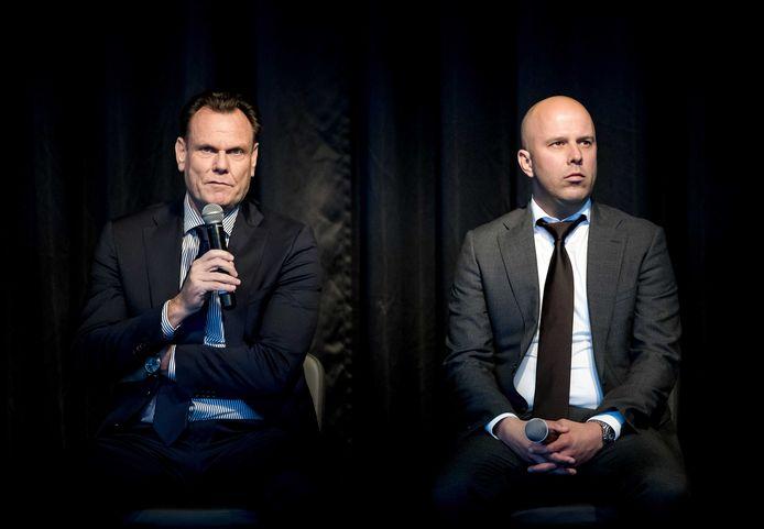 AZ-directeur Robert Eenhoorn en trainer Arne Slot tijdens de nieuwjaarsreceptie.