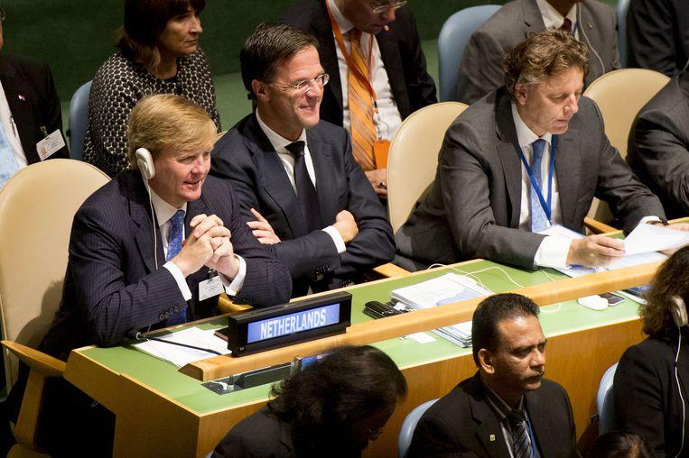 Koning Willem-Alexander en premier Mark Rutte en minister Bert Koenders van Buitenlandse Zaken tijdens de Algemene Vergadering van de Verenigde Naties. Beeld anp