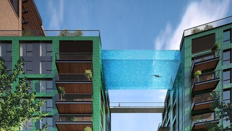 Visualisatie van de 'parel' van Nine Elms. De twee torens in de nieuwe Londense woonwijk worden verbonden door een zwembrug. Beeld