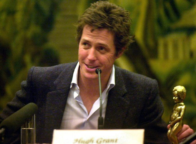 Hugh Grant in Brussel in 2003 bij de presentatie van zijn nieuwe film 'Love Actually'.
