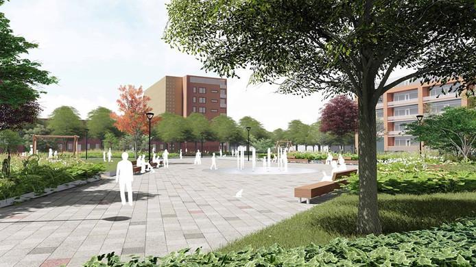 Ontwerp Nelson Mandelaplein in Tuinzigt. Het plein gaat in het voorjaar van 2019 op de schop. Bron: Urban Synergy