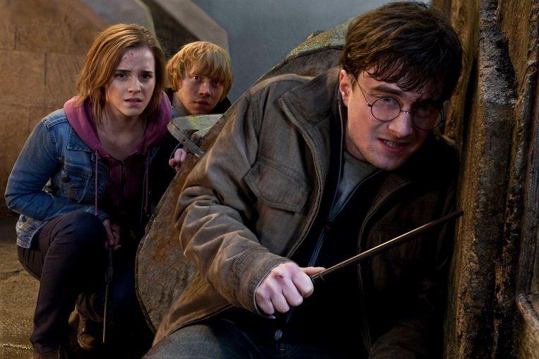 Ron, Hermelien en Harry in het laatste deel van de Potterreeks. Beeld ap