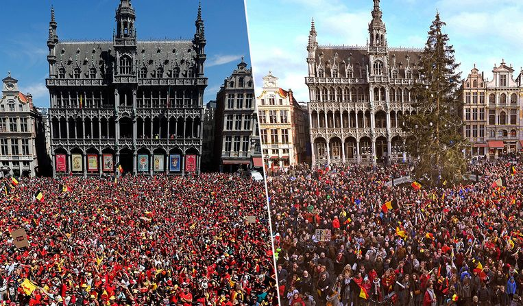 De Grote Markt van Brussel bij het ontvangst van de Rode Duivels (links) en vandaag van de Red Lions: bijna identiek.