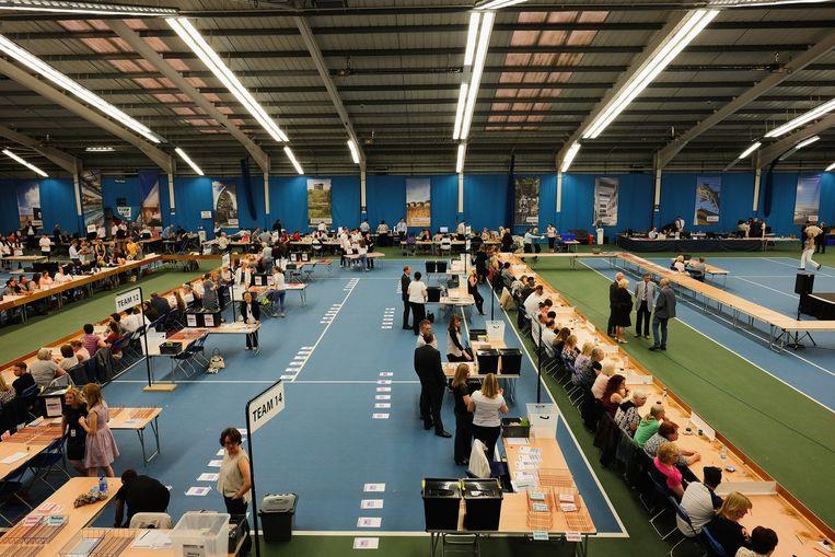 Stemmen tellen in Sunderland. Beeld Getty