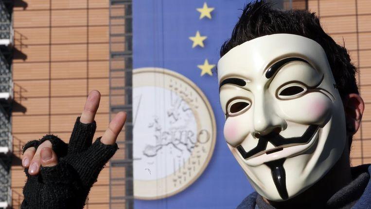 Een 'Euro-demonstrant' in Brussel. Beeld reuters