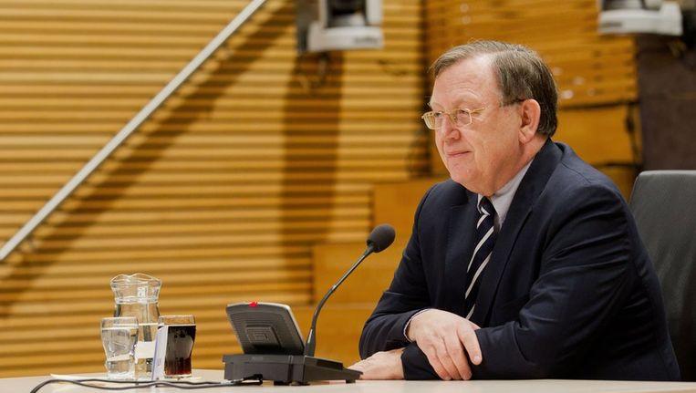 Nout Wellink tijdens het verhoor van de Commissie-de Wit, afgelopen vrijdag. Beeld anp