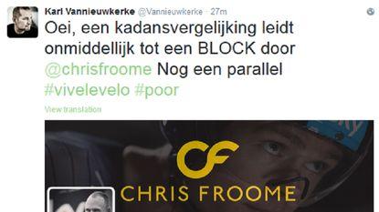 Dit overkomt Vannieuwkerke nadat hij Froome met Armstrong vergeleek